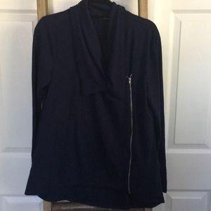Asymmetrical zip front light weight jacket in navy